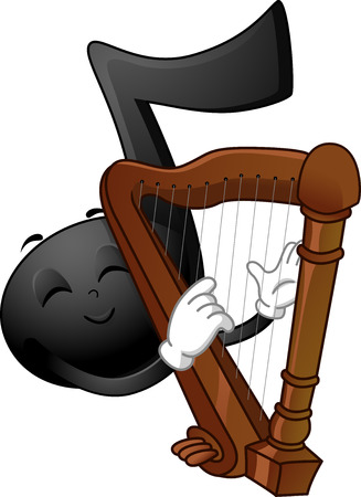 stroking: Mascot Illustration of a Black Musical Note Stroking the Strings of a Harp