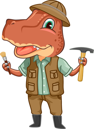 tyrannosaur: Dinosaur Illustration of a Tyrannosaur Dressed Like a Paleontologist Carrying a Hoe and a Brush
