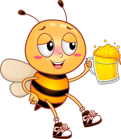intoxicated: Illustration of an Intoxicated Honeybee Drunkenly Raising its Beer Mug for a Toast