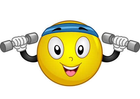 ダンベルを持ち上げるスポーティなヘッドバンドを身に着けているエネルギッシュな笑顔のマスコット イラスト