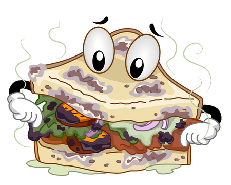 stinking: Mascot Illustration of a Stinking Spoiled Clubhouse Sandwich Sniffing Itself