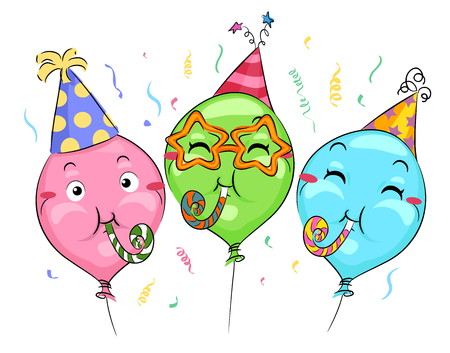 party cartoon: Mascot Illustration of Balloons in Party Hats Playing with Noisemakers Stock Photo