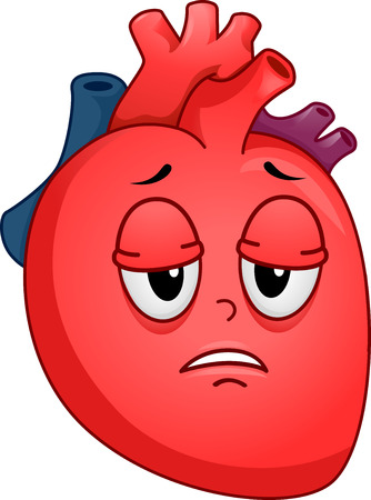 fatigue: Mascot Illustration of an Unhealthy Human Heart Suffering from Fatigue