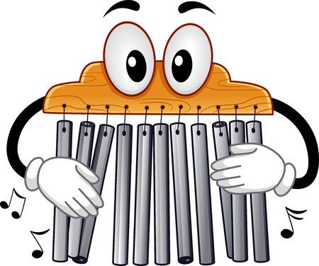 Musikinstrument Mascot Illustration eines Mark Baum Spielen mit seiner Bar Chimes Standard-Bild - 64592039