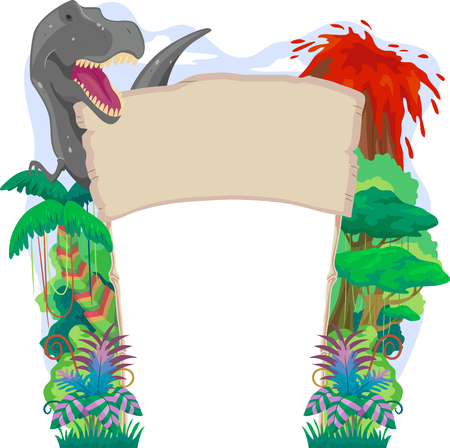 cartoon banner: Banner Illustration with a Prehistoric Theme Featuring a T Rex, an Erupting Volcano, and a Dense Rainforest