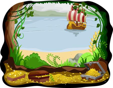 Ilustración de un barco pirata visible desde una cueva llena de tesoro