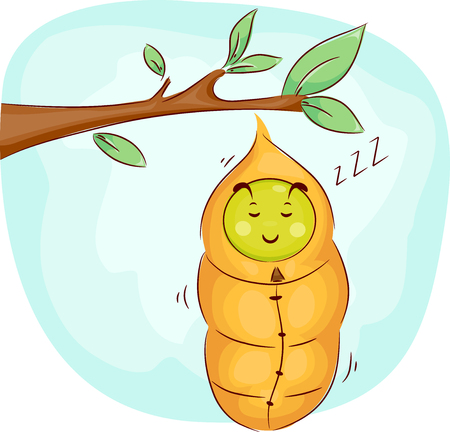 sleeping: Mascot Illustration of a Cute Caterpillar Soundly Sleeping in its Cocoon Stock Photo