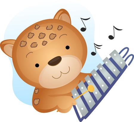 xilofono: Animal de la mascota de ilustración con un guepardo Jugando con un xilófono