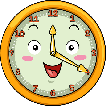 hour hand: Mascot Illustration of a Smiling Clock with its Hands Pointing to the Numbers Twelve and Four