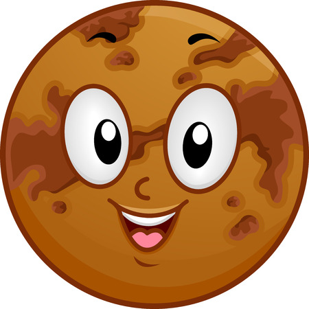 venus: Illustration of a Venus Mascot Featuring a Smiling Brown Planet Covered with Dark Spots