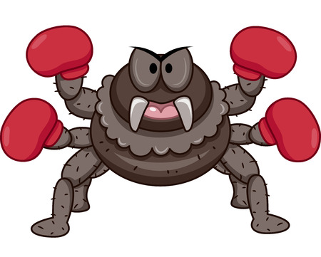 anthropomorphism: Mascot Illustration of an Angry Looking Spider with Gloves on Four of its Eight Legs