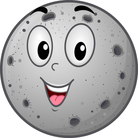rocky: Illustration of a Mercury Mascot Featuring a Gray Planet Covered with Rocky Craters