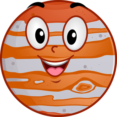 jupiter: Mascot Illustration of a Smiling Clock with its Hands Pointing to the Numbers Twelve and Eleven