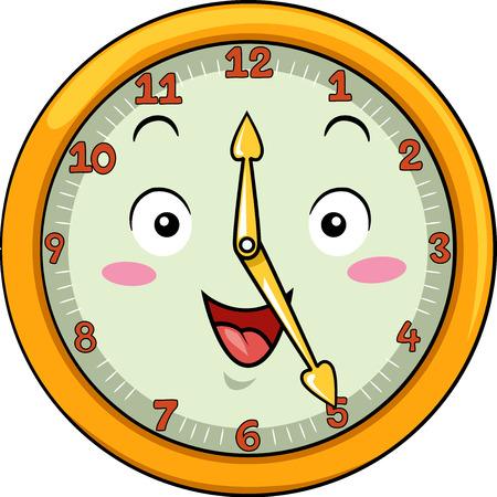 after school: Mascot Illustration of a Smiling Clock with its Hands Pointing to the Numbers Twelve and Five Stock Photo
