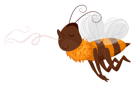 scent: Animal Mascot Illustration Featuring a Euphoric Honeybee Following a Sweet Scent