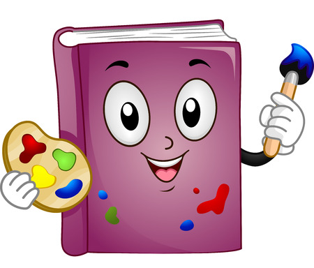 Mascot Illustration Of A Purple Book Holding A Color Palette.. Stock ...