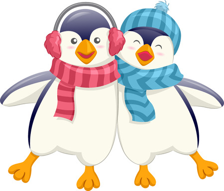scarves: Mascot Illustration of a Cute Pair of Friendly Penguins in Earmuffs and Scarves Wobbling as They Walk