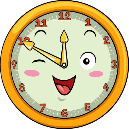 Mascot Illustration of a Smiling Clock with its Hands Pointing to the Numbers Twelve and Ten