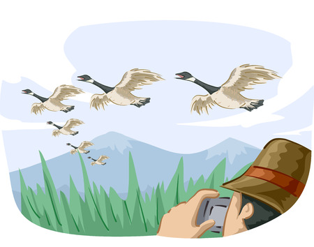 Animal Illustration Featuring a Bird Watcher Taking Photos of Migrating Geese 스톡 콘텐츠 - 123154817