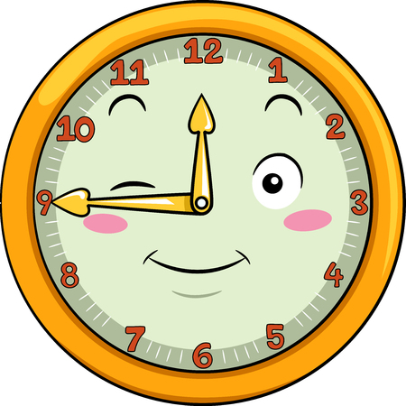 Mascot Illustration of a Smiling Clock with its Hands Pointing to the Numbers Twelve and Nine Stock Photo