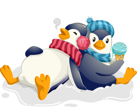 Mascot Illustration of a Cute Pair of Penguins Happily Eating Ice Cream