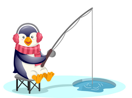 ice fishing: Mascot Illustration of a Cute Penguin Wearing Earmuffs and a Scarf Pole Fishing Through a Hole in the Ice