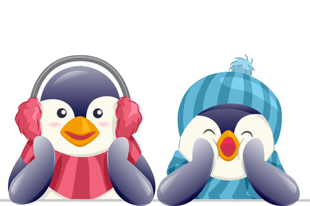 mating: Animal Mascot Illustration Featuring a Pair of Cute Penguins in Winter Clothing on top of a Blank Board