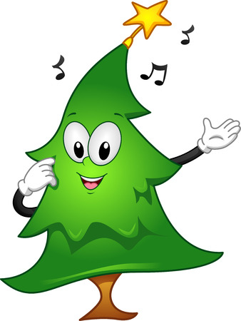 carol: Mascot Illustration of a Christmas Tree with a Star on Top Singing a Christmas Carol