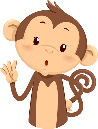 Mascot Illustration of a Cute Monkey Using His Fingers to Gesture the Number Four