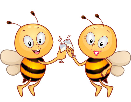 clinking: Animal Mascot Illustration Featuring a Pair of Honeybees Clinking Their Wineglasses for a Toast