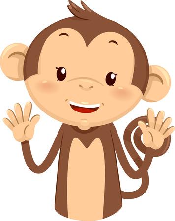 numero diez: Ilustración de la mascota un mono lindo que usa sus dedos para Gesture el número diez Foto de archivo