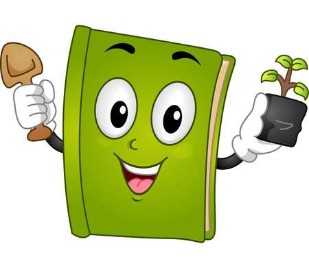 hand trowel: Mascot Illustration of a Green Book Holding a Trowel in One Hand and a Sapling in the Other Stock Photo