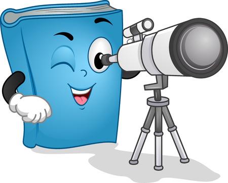 astronomie: Mascot Illustration eines Blue Book Mit einer Long Range Observation Binocular