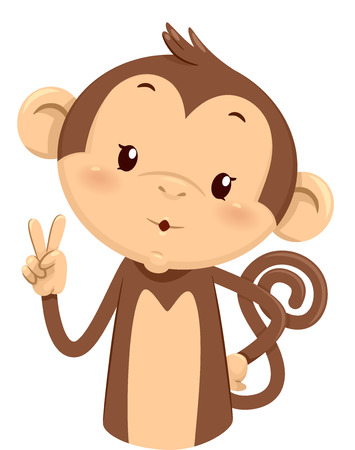 anthropomorphism: Mascot Illustration of a Cute Monkey Using His Fingers to Gesture the Number