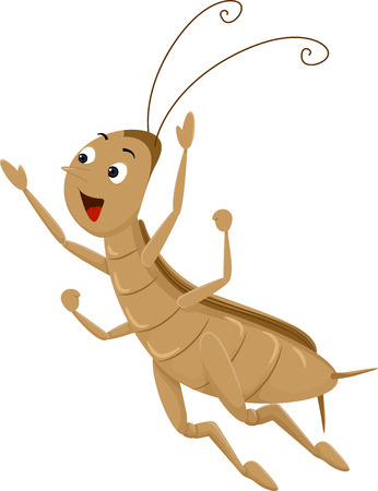 antennae: Animal Mascot Illustration Featuring an Energetic Cricket Performing a Long Jump