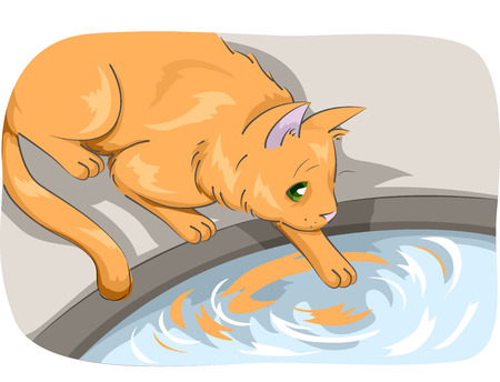 Animal Illustration Featuring a Cat Testing the Temperature of Water by Touching it With its Paw