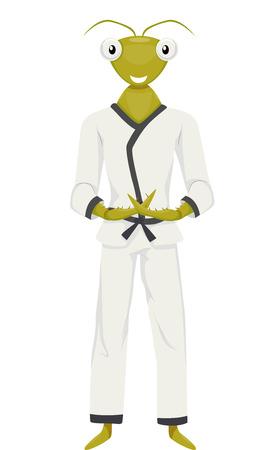 defensa personal: Ilustración de la mascota de una mantis religiosa en un traje de karate Entrelazando sus dedos en una pose