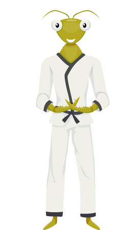 Mascot Illustration of a Praying Mantis in a Karate Costume Clasping its Fingers in a Pose
