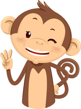 niños estudiando: Ilustración de la mascota un mono lindo que usa sus dedos para Gesture el número tres