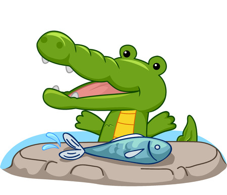 hungry: Mascot Illustration of a Hungry Crocodile Preparing to Eat a Freshwater Fish Stock Photo