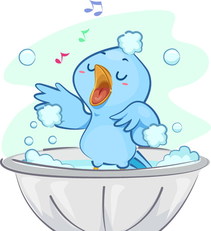Illustration of a Cute Blue Bird Singing Happily While Taking a Bubble Bath Imagens