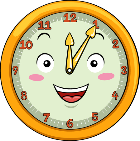 Mascot Illustration of a Smiling Clock with its Hands Pointing to the Numbers Twelve and One Stock Photo