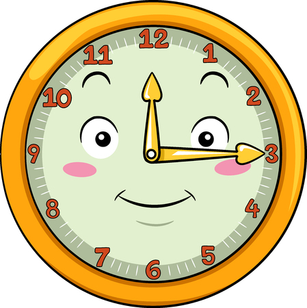 anthropomorphism: Mascot Illustration of a Smiling Clock with its Hands Pointing to the Numbers Twelve and Three