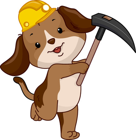 cute dog: Mascot Illustration of a Cute Dog Miner in a Yellow Hard Hat Carrying a Hoe Stock Photo