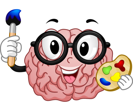 nerdy: Mascot Illustration of a Nerdy Brain in a Pair of Glasses Holding a Color Palette in One Hand and a Paintbrush in the Other