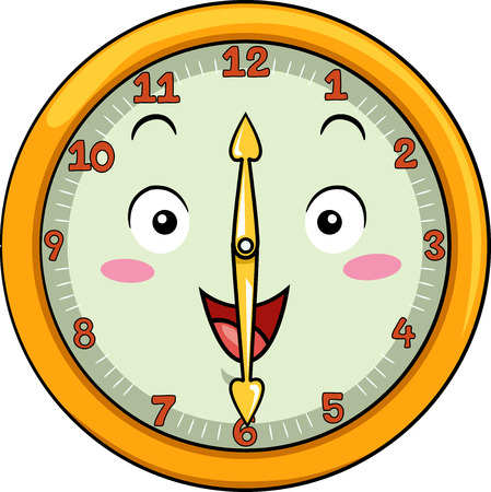 analog dial: Mascot Illustration of a Smiling Clock with its Hands Pointing to the Numbers Twelve and Six