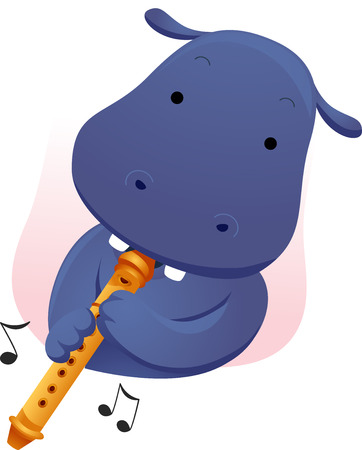 anthropomorphism: Animal Mascot Illustration Featuring a Cute Hippopotamus Playing the Flute Stock Photo