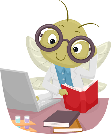 browsing: Animal Mascot Illustration Featuring a Cricket in a Lab Coat Reading a Book While Browsing the Internet