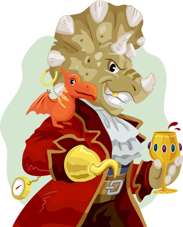 Mascot Illustration of a Triceratops Dressed as a Pirate with a Pterosaur Resting on its Shoulder Holding a Glass of Wine Stock Photo
