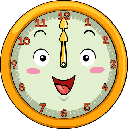 12: Mascot Illustration of a Smiling Clock with its Hands Pointing to the Number Twelve